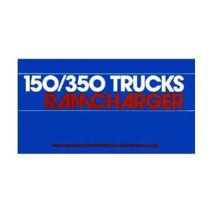 1983 DODGE RAMCHARGER Owners Manual User Guide Automotive