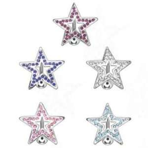 316L Surgical Steel   Pink Swarovski Crystals Star Navel