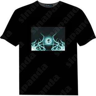 "sinapanda Up and Down Light Sound Activated LED EL T Shirt ""cartoon"