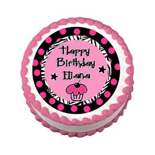 FABULOUS PINK POLKA DOT ZEBRA Round Edible Cake Image Party Decoration