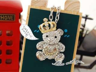 Fashion Full Diamond Lovely Teddy bears Crown Pendant Necklace
