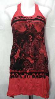 Skull Hippie Punk Rock Guitar T Shirt Mini Tank Dress Tunic Top, Sz S