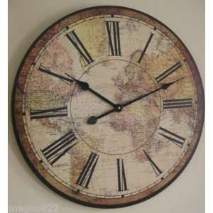 23.5 Large World Map Clock ~ Decorative Wall Decor