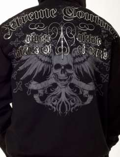 Xtreme Couture MMA Electro Skull Wings Black Mens Hoodie Jacket L