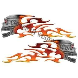 Fire Motorcycle Gas Tank Tribal Skull Flames   4.25 h x