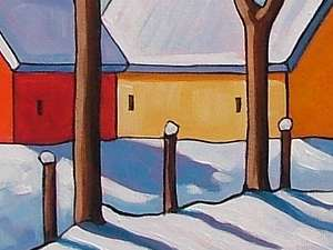 16x20 Snow Trees ORIGINAL ABSTRACT MODERN FOLK ART LANDSCAPE PAINTING