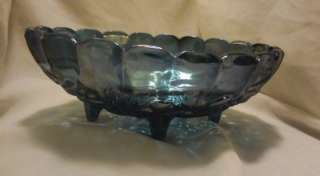 Blue Carnival Glass Indiana Harvest Grapes Large Footed Oval Scalloped