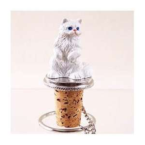 White Persian Cat Wine Bottle Stopper