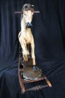 L103 ANTIQUE FOLK ART ROCKING HORSE HAND CARVED AND PAINTED HORSE HAIR