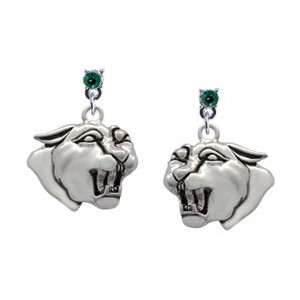 Large Panther   Mascot Emerald Swarovski Post Charm Earrings [Jewelry]
