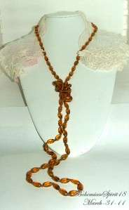 Vintage Art Deco Czech Amber Glass 54Flapper/Necklace