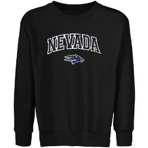 Wolf Pack Youth Black Logo Arch Applique Crew Neck Fleece Sweatshirt