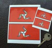 ISLE OF MAN 3 Legs of man Flag 4in & 2in stickers