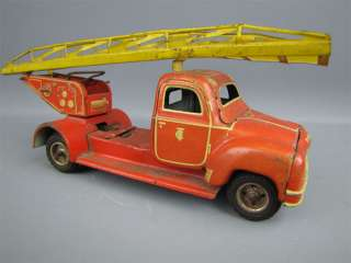 Vintage TIPPCO 003 Fire Engine Friction Tin Toy Truck