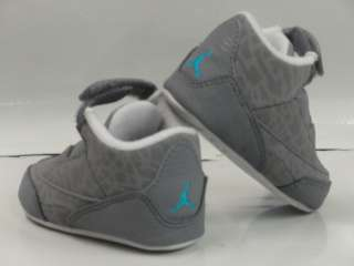 Jordan 3 Retro Grey Blue Sneakers Crib Baby Soft Shoes Size 1