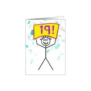 Happy 19th Birthday Stick Figure Holding Sign Card Toys