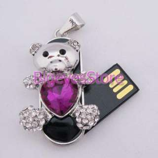 New beautify Slivery Purple 4GB Swarovski Crystal Bear USB 2.0 Flash