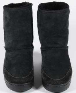 Ugg Black Suede Ultra Short Sheepskin Boots Size 8