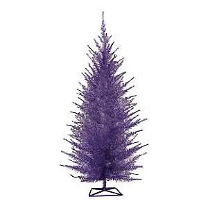 Foot Stylized Purple, Pre Lit Metallic Tinsel Pine Christmas Tree