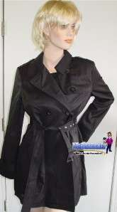Kenneth Cole Reaction BLACK Rain Trench Coat Ladies NEW