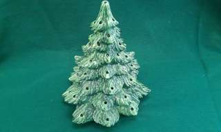 Green Vintage Ceramic Christmas Tree 11 tall 10 across base