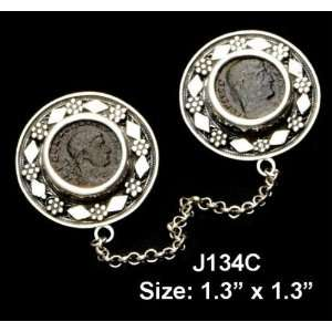 Sterling Silver Genuine Roman Coin Tallit Clips