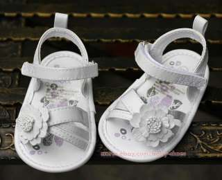 Baby Infant Girl White Floral Sandals Newborn Dress Crib Shoes US Size
