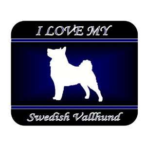 I Love My Swedish Vallhund Dog Mouse Pad   Blue Design