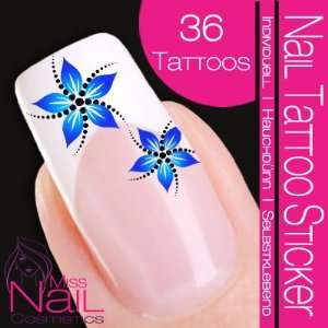 Nail Tattoo Sticker Flower / Blossom   blue / turquoise