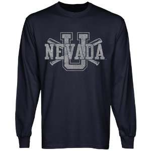 Nevada Wolf Pack Crossed Sticks Long Sleeve T Shirt   Navy