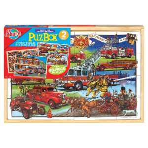 Shure Back in Time Fire Trucks 2 Jumbo Puzzles in a Wooden