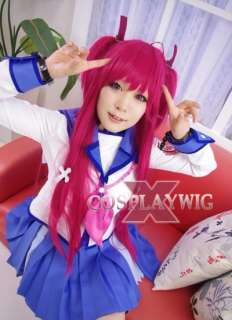 Angel Beats Yui Magenta Long Cosplay Skin Top Hair Wig