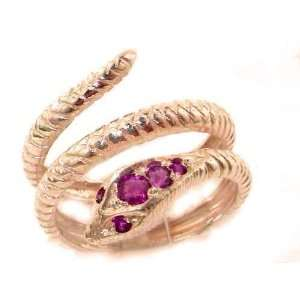 Fabulous Solid Rose Gold Natural Ruby Detailed Snake Ring