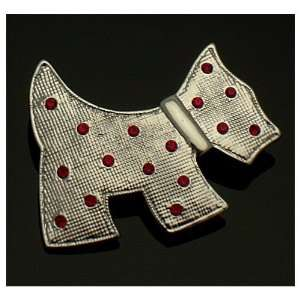 Acosta Brooches   Silver Colored with Red Crystal   Scottish Terrier