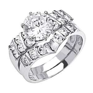 14K White Gold Solitaire CZ Cubic Zirconia High Polish Finish Ladies