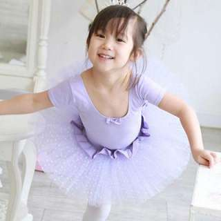 Girls Purple Dance Party Leotard Ballet Tutu Dress 3 8Y