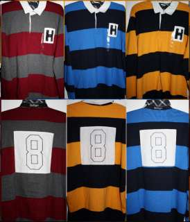 NWT Tommy Hilfiger Stripe Rugby LS Shirt HApplique #8 Various Color