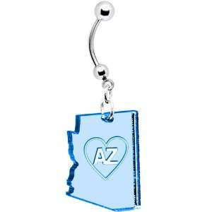 Light Blue State of Arizona Belly Ring Jewelry