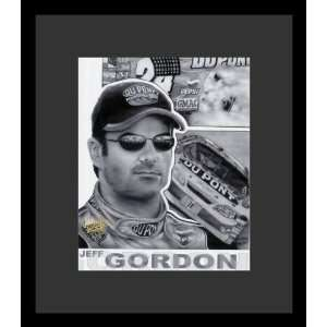Jeff Gordon (Face & Car, B&W) Sports Black Wood Mounted