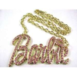NEW NICKI MINAJ BARBIE Pendant w/18 Chain Gold Lg Pink Jewelry