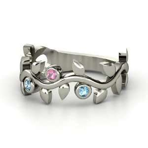 Gems, Sterling Silver Ring with Pink Tourmaline & Blue Topaz Jewelry