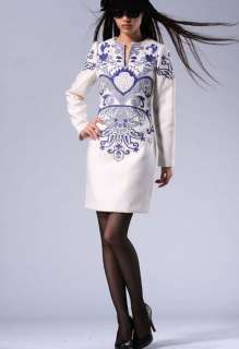 Neck Embroidered Long Sleeve New Fashion Stylish Slim Dress Top