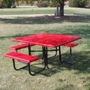 Square Perforated Steel Picnic Table (ADA) Patio, Lawn & Garden