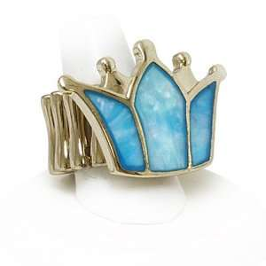 Blue Mother of Faux Pearl Crown Stretch Fashion Ring Jewelry