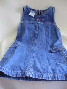 OSH KOSK BGOSH GIRLS BABY TODDLER 5 T DRESS BLUE DENIM ZIPPER JUMPER