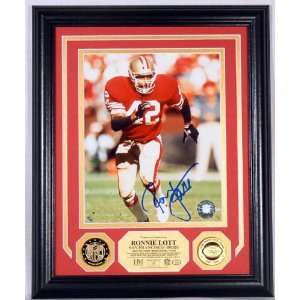 Ronnie Lott Autographed Photomint with 2 Gold Coins