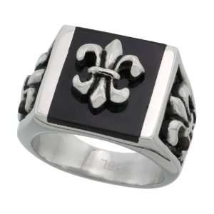 Surgical Steel Fleur de lis Ring Blackened Finish 25mm (1