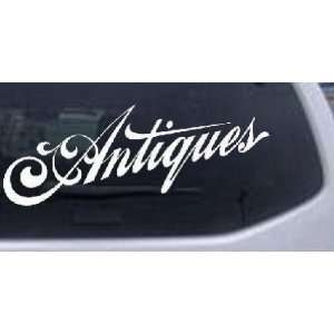 White 30in X 11.6in    Antiques 3 Swirl Business Car Window Wall
