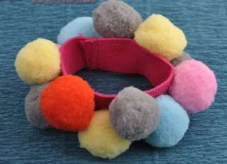 Fashion hot colorful Sphere plush Ball Hair Ring Rope