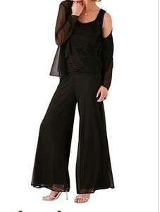womens Mother of Bride Groom evening dress black 3PC pantset suit